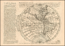 World and Western Hemisphere Map By Pierre Moullart Sanson