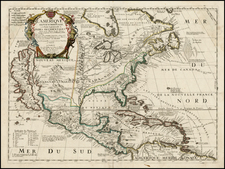 North America and California Map By Vincenzo Maria Coronelli / Jean-Baptiste Nolin