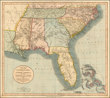 United States, South, Southeast and Caribbean Map By John Cary