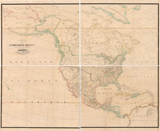Western Hemisphere, United States, Texas, Rocky Mountains, North America and California Map By Philippe Marie Vandermaelen