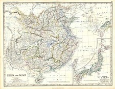 Asia, China, Japan and Korea Map By W. & A.K. Johnston