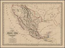 Texas, Southwest, Rocky Mountains, Mexico and California Map By Conrad Malte-Brun