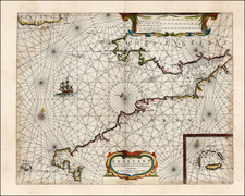 British Isles Map By Caspar  Lootsman / Anthonie (Theunis)   Jacobsz