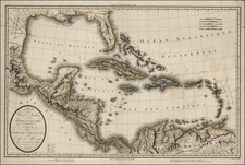South, Southeast, Mexico, Caribbean and Central America Map By Pierre Antoine Tardieu