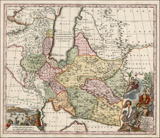 Asia, Central Asia & Caucasus, Middle East and Russia in Asia Map By Matthaus Seutter