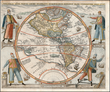 World, Western Hemisphere, North America, South America, Australia & Oceania, Australia, Oceania and America Map By Theodor De Bry