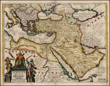 Europe, Turkey, Mediterranean, Asia, Middle East and Turkey & Asia Minor Map By Matthaus Merian