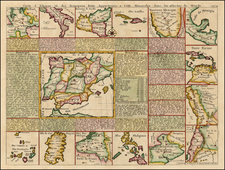 Texas, Southwest, Caribbean, Central America, South America, Europe, Italy, Balearic Islands, Asia and Philippines Map By Henri Chatelain