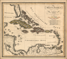 Southeast, Caribbean and Central America Map By Carl Ferdinand Weiland