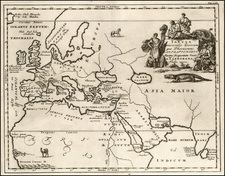 World, Central Asia & Caucasus, Middle East, Turkey & Asia Minor and North Africa Map By Samuel Bochart