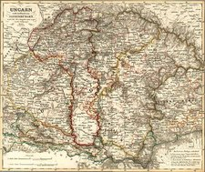 Europe, Hungary and Balkans Map By Adolf Stieler