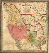 Texas, Rocky Mountains and California Map By Samuel Augustus Mitchell