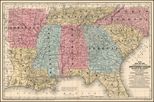 South and Southeast Map By Samuel Augustus Mitchell