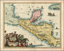Caribbean and Central America Map By John Ogilby