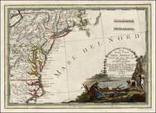 New England and Southeast Map By Giovanni Maria Cassini