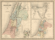 Holy Land Map By Adolphe Hippolyte Dufour