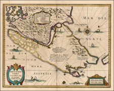 Polar Maps and South America Map By Jodocus Hondius