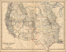Texas, Plains, Southwest, Rocky Mountains and California Map By W. & A.K. Johnston