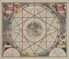 World, Northern Hemisphere, Polar Maps, North America, Curiosities, California and Celestial Maps Map By Andreas Cellarius