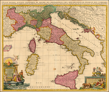 Europe, Balkans, Italy, Mediterranean and Balearic Islands Map By Peter Schenk