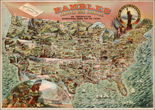 United States, Texas, Plains, Southwest, Rocky Mountains and California Map By American Publishing Co.