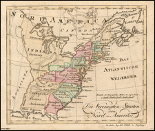 United States Map By Johann Walch