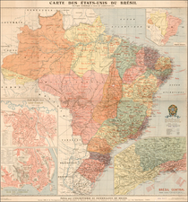 Brazil Map By Demoulin Freres / A Levy
