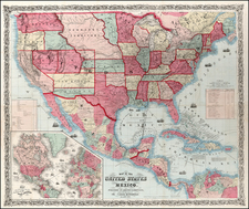 United States Map By Alvin Jewett Johnson  &  Browning
