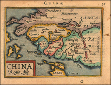 China Map By Abraham Ortelius / Johannes Baptista Vrients