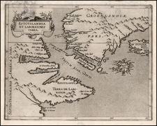 Polar Maps, Atlantic Ocean, Canada and Iceland Map By Cornelis van Wytfliet