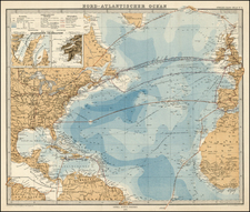World and Atlantic Ocean Map By Adolf Stieler