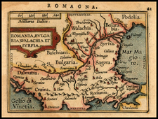 Romania, Balkans and Turkey Map By Abraham Ortelius / Johannes Baptista Vrients