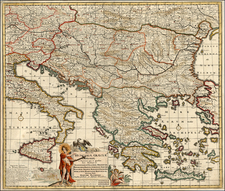 Ukraine, Hungary, Romania, Balkans, Italy, Greece, Mediterranean and Balearic Islands Map By Justus Danckerts