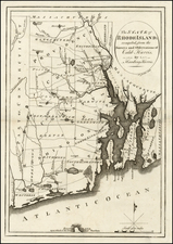 New England and Rhode Island Map By Mathew Carey