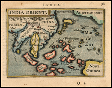 China, India and Southeast Asia Map By Abraham Ortelius / Johannes Baptista Vrients
