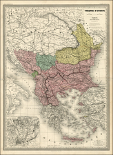 Balkans, Greece and Balearic Islands Map By Adolphe Hippolyte Dufour