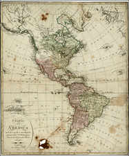 South America and America Map By Johann Walch