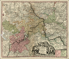 France and Germany Map By Matthaus Seutter