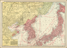 China, Japan, Korea and Russia in Asia Map By George F. Cram