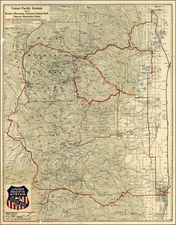 Rocky Mountains Map By Union Pacific Railroad Company / Poole Brothers