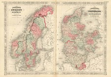 Europe, Germany and Scandinavia Map By Alvin Jewett Johnson