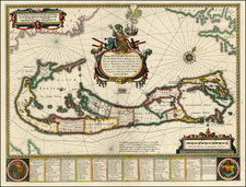 Atlantic Ocean and Caribbean Map By Willem Janszoon Blaeu