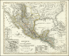 Texas, Southwest, Rocky Mountains and California Map By Adolf Stieler