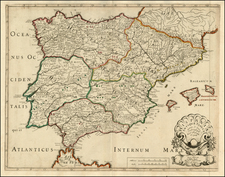 Spain and Portugal Map By Nicolas Sanson