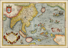 Alaska, China, Southeast Asia, Philippines, Australia and Oceania Map By Abraham Ortelius