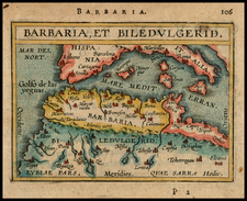 Mediterranean, Balearic Islands and North Africa Map By Abraham Ortelius / Johannes Baptista Vrients