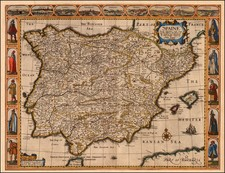 Spain and Portugal Map By John Speed