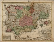 Spain and Portugal Map By Matthaus Seutter