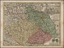 Poland and Czech Republic & Slovakia Map By Matthaus Seutter