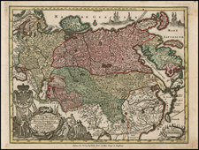 Russia, Central Asia & Caucasus and Russia in Asia Map By Matthaus Seutter